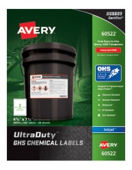 Avery Award-Winning GHS UltraDuty Chemical Labels 60522