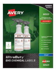 Avery® UltraDuty™ GHS Chemical Labels for Pigment-Based Inkjet Printers, 60523, packaging