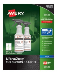 Avery Award-Winning GHS UltraDuty Chemical Labels 60523