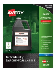 Avery® UltraDuty™ GHS Chemical Labels for Pigment-Based Inkjet Printers, 60524, packaging