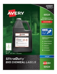 Avery Award-Winning GHS UltraDuty Chemical Labels 60524