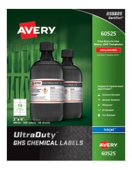 Avery® UltraDuty™ GHS Chemical Labels for Pigment-Based Inkjet Printers, 60525, packaging
