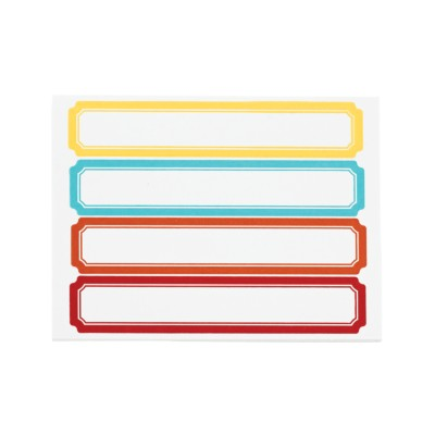 "MSHO File Folder Label Pads, Classic, 9/16""x3-1/2"", Asstd Bright Hues, Yellow, Blue, Orange, Red 4up 72459"