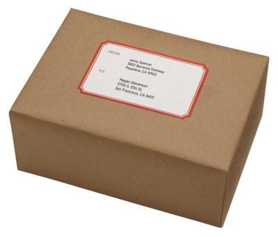 "MSHO Shipping Labels, Classic Shape, Laser/InkJet, Red Border, 4""x6"" sheets, 2-1/2""x3-3/4"", 2up 9sh 72462"