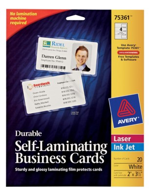 Business Cards Avery 174 Durable Self Laminating Business