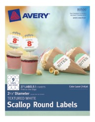 Avery® Textured White Scallop Round Labels 80500, Packaging Image