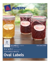 Avery® Textured White Oval Labels 80502, Packaging Image