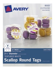 Avery® Textured White Scallop Round Tags 80503, Packaging Image