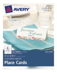 Avery® Textured White Place Cards 80504, Packaging Image