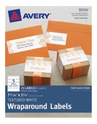 Avery® Textured White Wraparound Labels 80506, Packaging Image