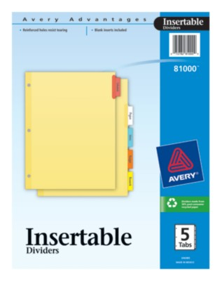 Mass Market Standard Insertable Dividers with Buff Paper 81000