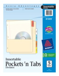 Avery® Pockets 'n Tabs Insertable Dividers 81009,