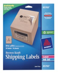 Avery Brown Kraft Shipping Labels, 85783