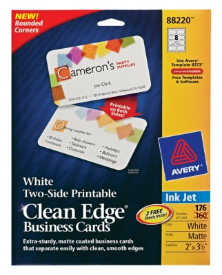 Two-Sided Rounded Corners Ink Jet Clean Edge Business Cards 88220