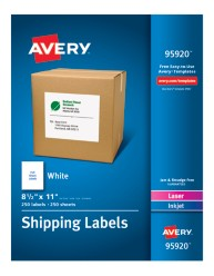 "Avery&Reg; White Shipping Labels 95920, 8-1/2"" x 11"", Packaging Image"