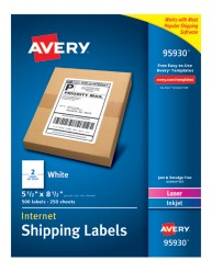 "Avery&Reg; White Shipping Labels 95930, 5-1/2"" x 8-1/2"", Packaging Image"