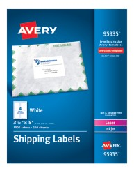"""Avery&Reg; White Shipping Labels 95935, 3-1/2"""" x 5"""", Packaging Image"""