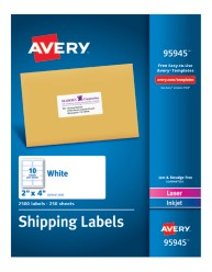 "Avery&Reg; White Shipping Labels 95945, 2"" x 4"", Packaging Image"
