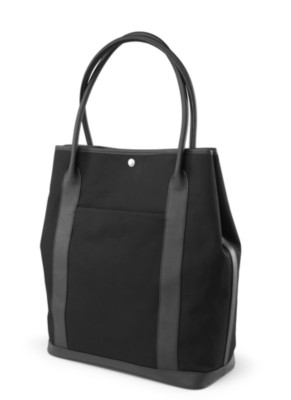 "MSHO Laptop Tote, 100% Cotton with PVC Trim, Large Vertical Rectangle, 14""x16.5""x6"", Black Canvas 2742"