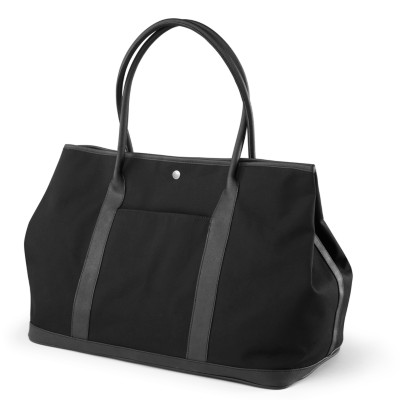"MSHO Tote Bag, 100% Cotton w/PVC Trim, Large Horizontal Rectangle, 20""x14""x10"", Black Canvas 2746"