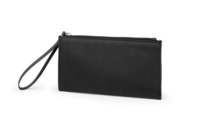 "MSHO Wristlet, 100% PVC, Small Horizontal Rectangle, 8.5""x4.5""x.75"", Black Textured 6423"