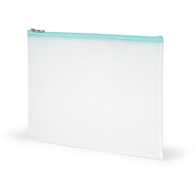 "MSHO Large Pouch Blue Zipper, 100% PVC, Horizontal Rectangle, 12""x9""x1/8"", Clear PVC 6426"