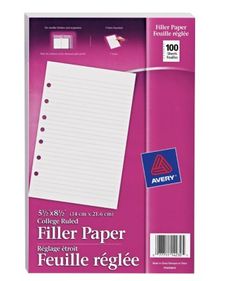 5.5 x 8.5 Binder Filler Paper 100 Sheets 14230