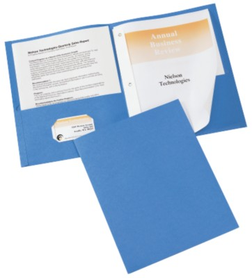 Two Pocket Folders with Fasteners 10PK Light Blue 47347