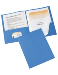 Two Pocket Folders with Fasteners 10PK Light Blue