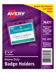 "Avery® Heavy-Duty Badge Holders for Inserts up to 3"" x 4"" 74471, Packaging Image"