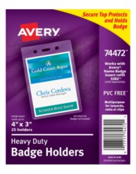 "Avery® Heavy-Duty Badge Holders for Inserts up to 3"" x 4"" 74472, Packaging Image"