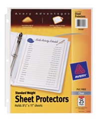 Standard Weight Polypropylene, Clear Sheet Protectors 75530, Packaging Image