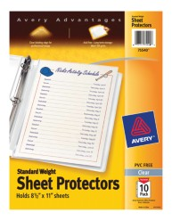 Standard Weight Polypropylene, Clear Sheet Protectors 75540, Packaging image