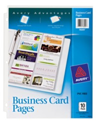 Untabbed Business Card Pages