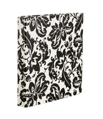 "MSHO Extra Wide Printed Paper Binder with 1"" Slant Ring, Black Damask Print 79231"