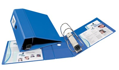 "Heavy Duty Binder with 5"" One Touch EZD Ring and Label Holder, Blue, PVC Free 79896"
