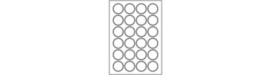 Round Heavy Duty Labels | 24 per page | Blank Template | Portrait