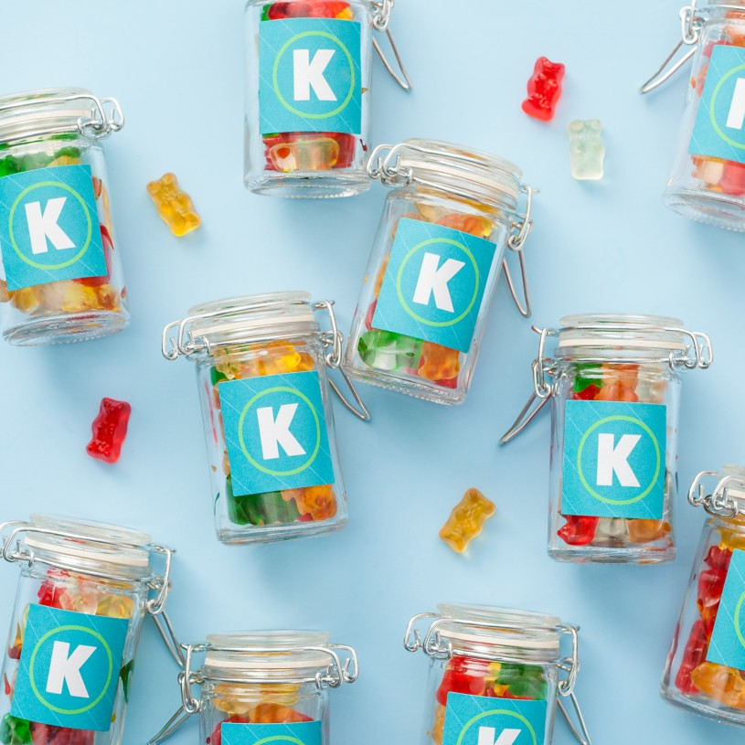 "The business logo printed on specialty labels gives these snack jars a nice touch that says, ""My company can motivate me with candy."" Well, maybe not exactly. But it takes the stuffiness out of the meeting, doesn't it?"