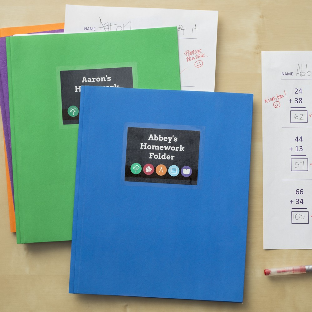 Homework folders personalized with labels can help make sure students are responsible for their assignments.