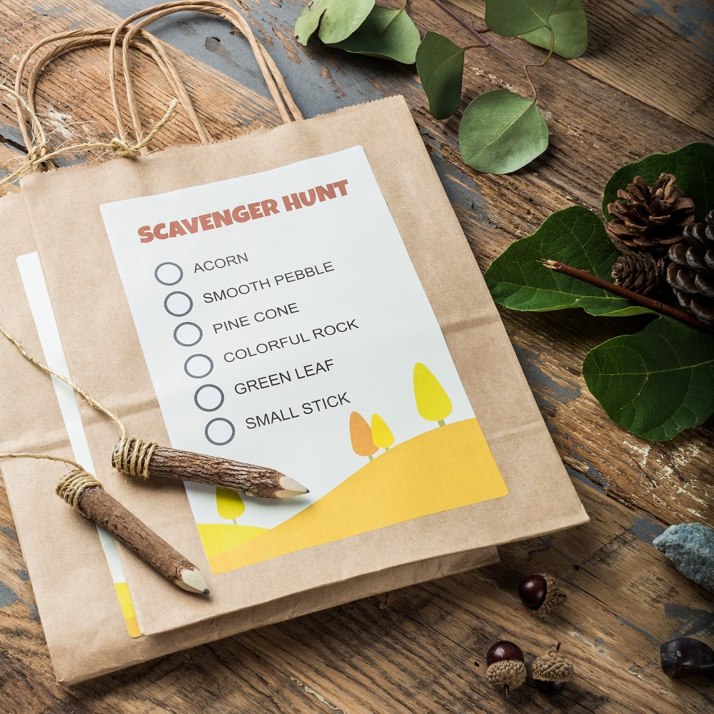 Use large labels to create checklists of items for the scavenger hunt, and attach pencils to the collection bag handles with string.