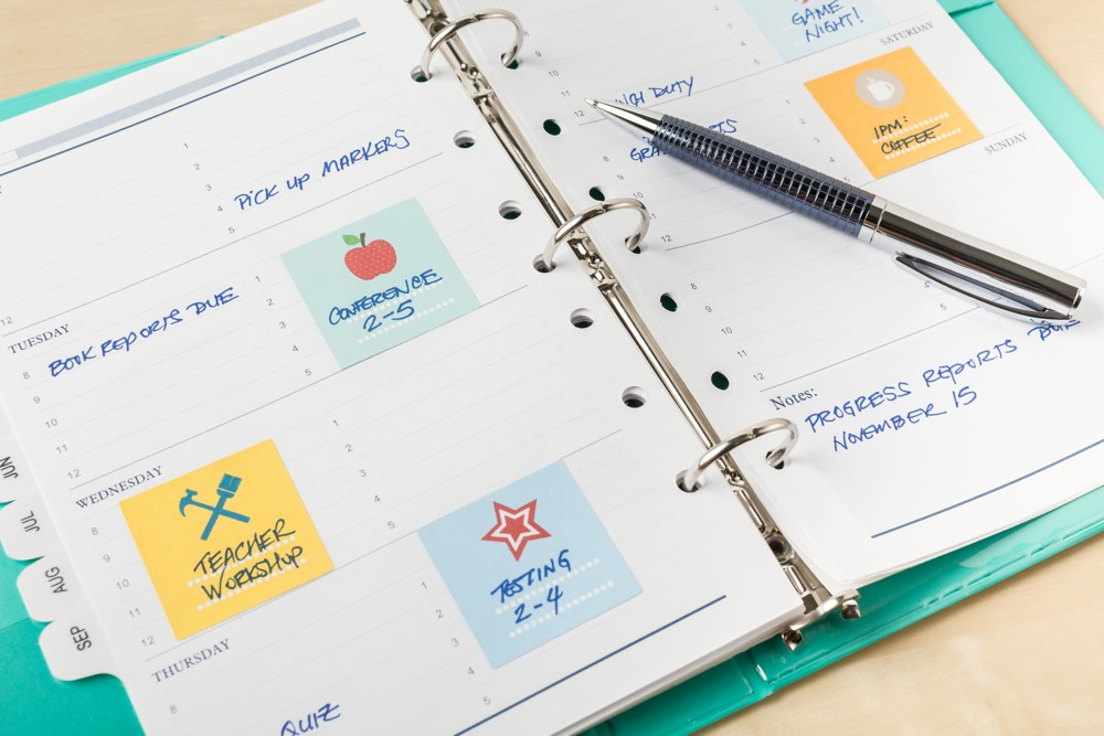 Keep sheets of preprinted planner stickers (such as these square labels) to mark reoccurring events in your planner.