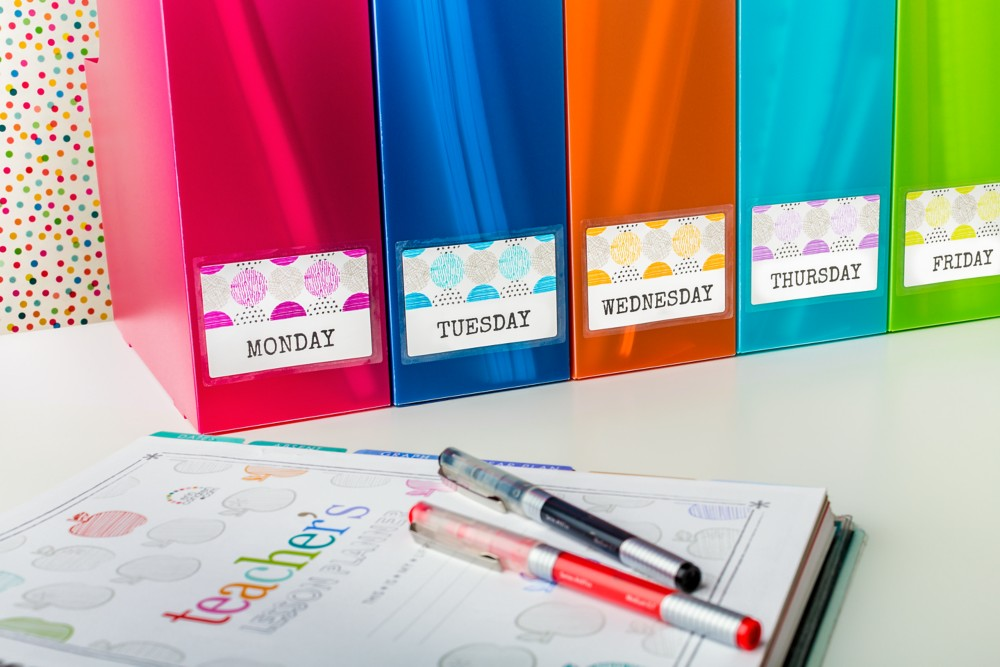 Organize for the week ahead with magazine holders and waterproof self-laminating ID labels that stand up to tough conditions (and even coffee spills).