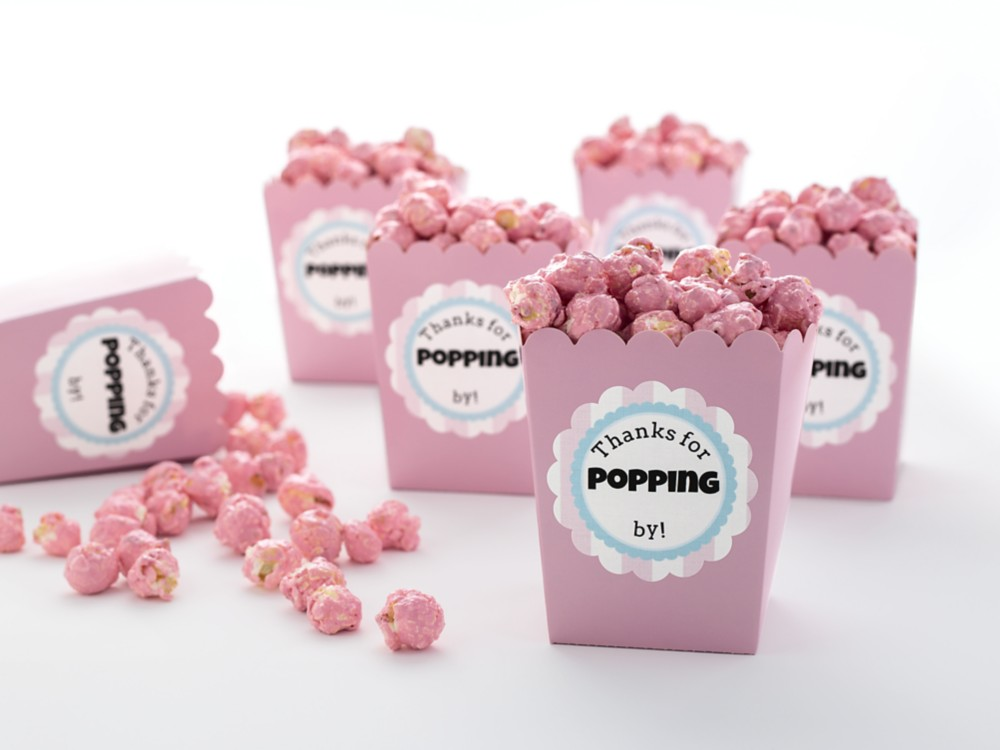 Send guests home with a sweet take-home gift. These scalloped labels on popcorn favors can be customized to express your thanks.