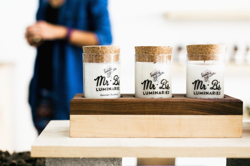 Mr. B's branding uses labels placed directly on the products for a clean look.