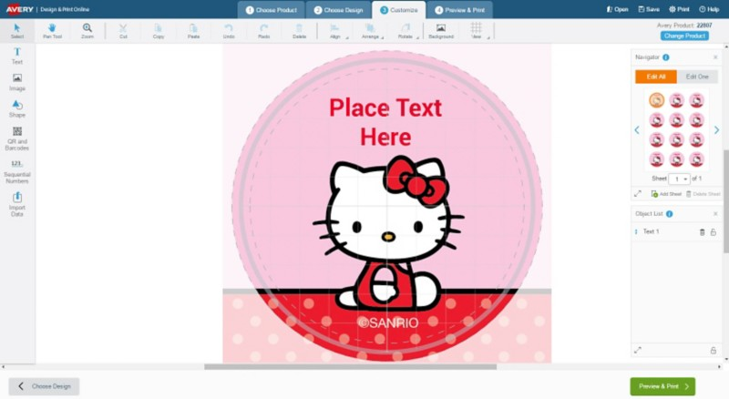 Open Hello Kitty Round Labels Template