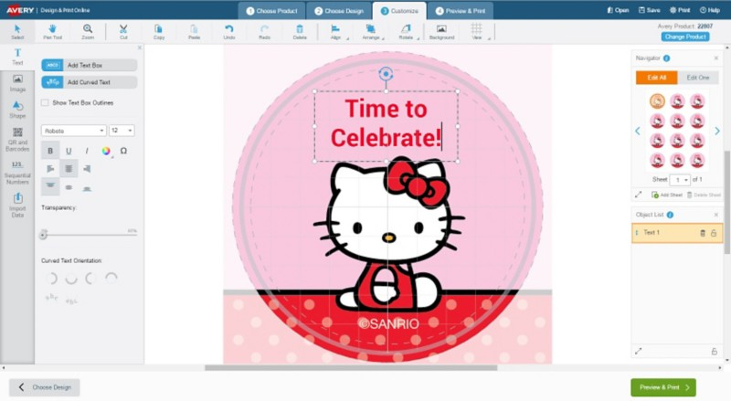 Add text to Hello Kitty Round Labels Template