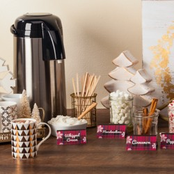 Invite your shopping guests to enjoy a complimentary wintertime refreshment! Set up a hot chocolate bar in your store and add custom Avery Tent Cards to identify all the delightful toppings.