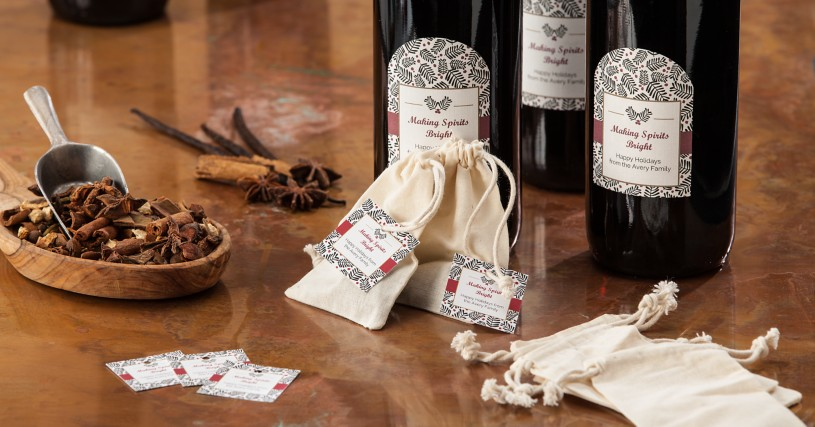Mulled wine gift set with labeled wine and tagged spice bag
