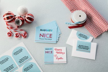 Greeting cards and arched labels, naughty or nice