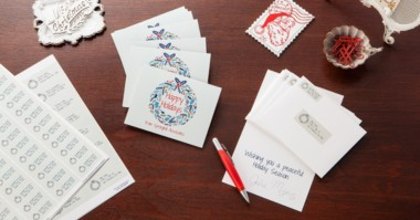 Folded cards and clear address labels, wreath design